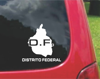 2 Pieces Distrito  Federal  Mexico Outline Map  Stickers Decals 20 Colors To Choose From.  U.S.A Free Shipping