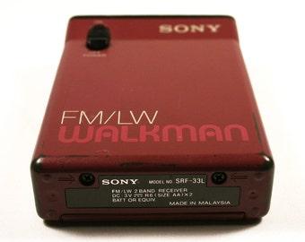 Rare Vintage 1990s SONY walkman radio receiver, FM / LW, Model Srf-33L, Gift idea for him