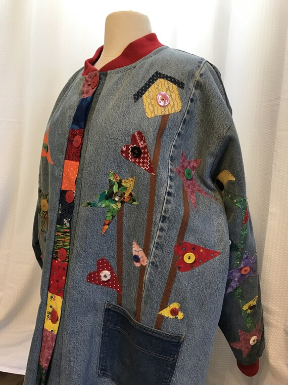 Handmade Quilted Jacket, Plus Size 1XL 2XL, One of a Kind Coat, Rustic Style Blazer