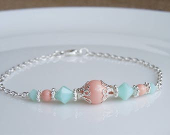 Coral and Mint Bridesmaids Bracelet or Necklace - Crystals and Pearl Wedding Jewelry - Feminine Dainty Necklace Earrings Bridal Jewelry Set