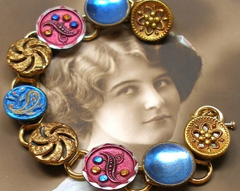 """French Paisley Antique BUTTON bracelet, Victorian twinkles, gold, blue, pink, 7.5"""" jewellery."""