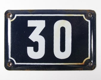 House Number Plate No. 30, Original Enamel French Blue and White, Old French House Number, Enamel House Number (349)
