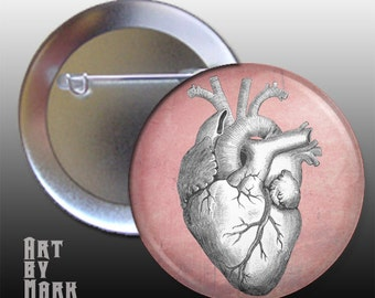 Vintage Anatomy Grunge Heart Pinback Button