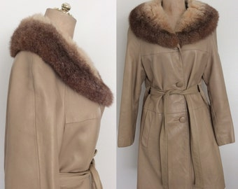 1960's Tan Leather & Fur Jacket w/ Belt Size Medium by Maeberry Vintage
