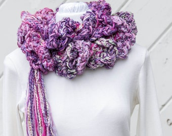 Mixed Berry Purple Fluffy Ruffled Chunky Lacy Long Scarf