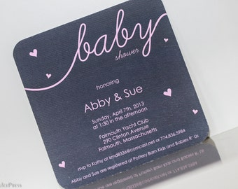 Delicate Hearts- Baby Shower Invitation