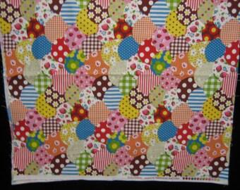 Strawberry circular patchwork fabric 1/2 yard