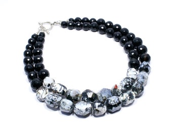 Black and White Statement Necklace - Gemstone Jewelry - Speckled Agate Black Onyx Beaded Necklace - Beadwork Jewelry - Big Skies Jewellery