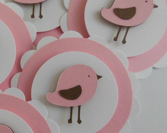 Bird Cupcake Toppers - Pink, Brown and White - Girl Party Decorations - Girl Baby Showers - Set of 6