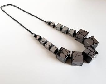 Silver Statement Wood Necklace By Hue Wood