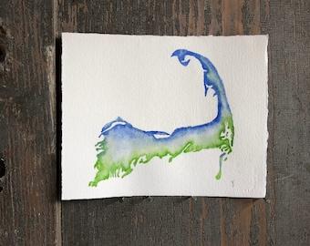 Original Watercolor Map Painting : cape cod