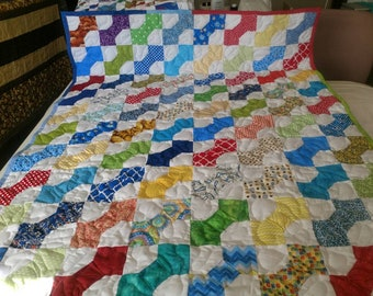 Handmade Pieced-Boy-Girl-Scrappy Bow tie  Baby Crib Lap Quilt Blanket Made in Arkansas Ozarks