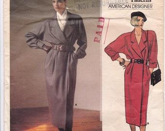 Vintage Vogue 1461 Wrap Dress Coat Coatdress 1980's Designer Sewing Pattern by Anne Klein, Size 8, Bust 31 1/2, Cut