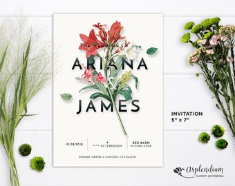 Custom Wedding Invitation Set Printable - Modern Floral