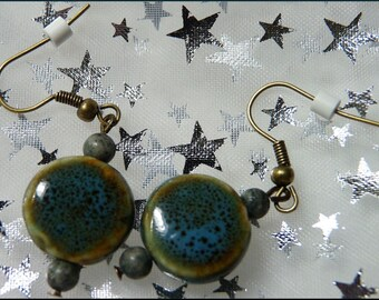 All Year Long Great With Jeans Earrings--Ceramic, Agate and Antiqued Brass