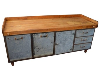 Kitchen Island Worktable with Butcher Block Maple Top on Steel Base, c. 1930s