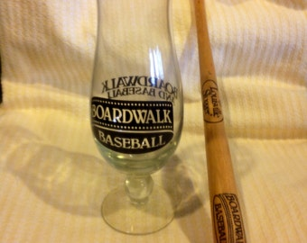 Baseball And Boardwalk Hurricane Glass 20 Oz with Mini Louisville Slugger Bat
