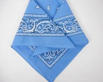 vintage blue bandana, cotton bandana, paisley design, cotton neckerchief