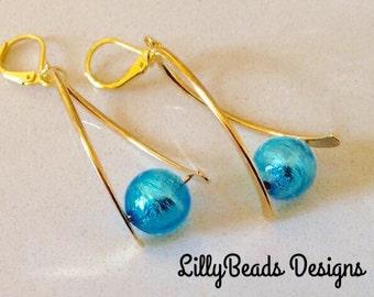 Aquamarine Dangle Earrings, Venetian Glass Drop Earrings, Blue Earrings,Silver foil-lined Earrings,Gold Earrings, Shiny Earrings