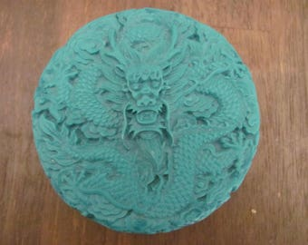 Vintage Carved Turquoise Celluloid Trinket Box With Dragons
