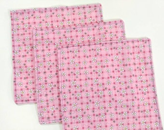 3pk cloth napkins, to try, small bundle, 7x7 inch, cotton napkins, choose print, made on order