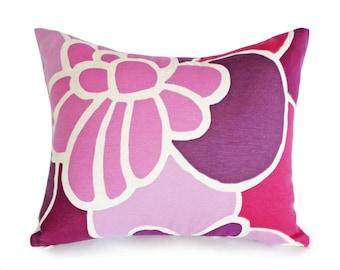 Plum Pillow, Purple Pillow Covers, Mod Pillows, Mod Flowers, Mauve, Fuchsia, Girls Bedroom, Dorm Pillow, 12x18, 14x18, Pink Lumbar Pillow