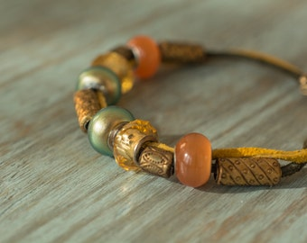 Suede Boho Bracelet with Large Beads in green and gold