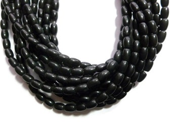 Black Obsidian - Barrel Bead - 6mm x 4mm - 64 Beads - Full Strand - shiny oval or rice