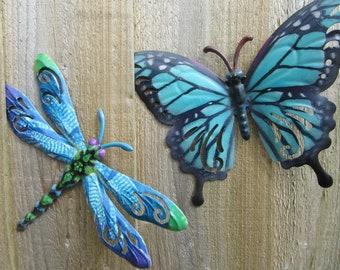 Garden Wall Art Garden Butterfly & Garden Dragonfly Set Yard Wall Art