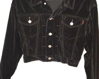 Vintage short 90's black Rocky velveteen jacket size S