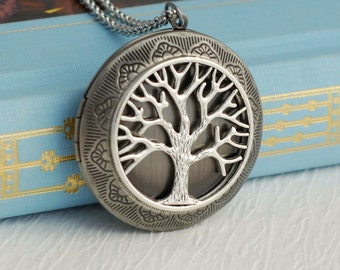 Large Silver Tree Locket Necklace, tree of life jewelry, family tree necklace, tree pendant, vintage locket necklace, romantic gift for her