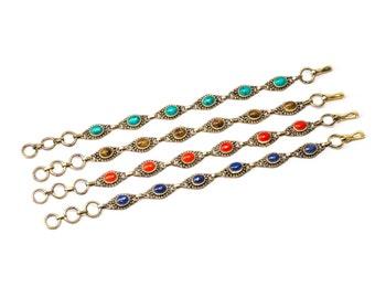 Dainty Turquoise,  Tigers Eye, Coral, Lapis Gemstone Brass Bracelet Adjustable Gift Boxed + Giftbag + Free UK Delivery