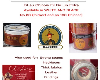 Fil Au Chinois - Fil de Lin Extra - no 80 or 100 Thread in BLACK or WHITE in 50m Capsule - Made in France