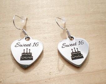 Sweet 16 Earrings, Birthday Earrings, Charm Earrings, Jewelry Findings