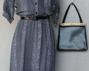 1980s Secretary Dress - Black and White Patterned Stripe Dress - Modest - Traditional -Stripe Vintage Dress - Print Animal Stripe - 30 Bust