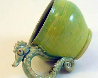 Seahorse Mug- Chartreuse Yellow Green, Slip Trailed Spikes Sea Horse