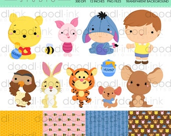 SALE 50%!!! Cute Pooh and Friends Digital Clipart / Honey Bear Clip Art / Digital Paper For Personal Use / INSTANT DOWNLOAD