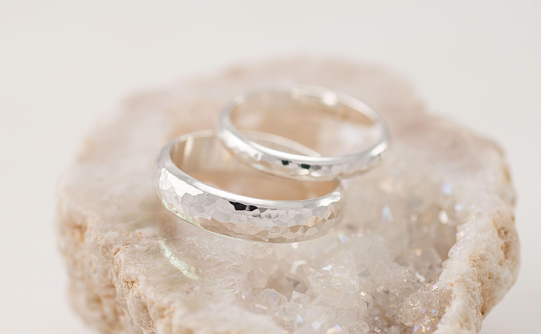Wedding Band Set Hammered Wedding Rings Silver Wedding Rings