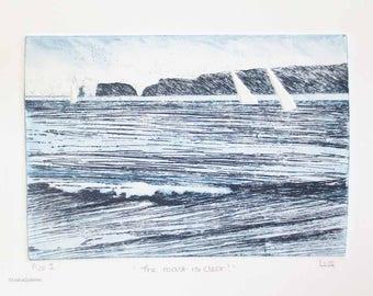 Original artist proof etching monoprint print of yachts sailing around the headland