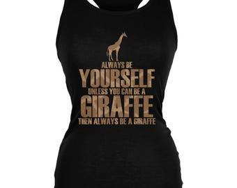 Always Be Yourself Giraffe Juniors Soft Tank Top