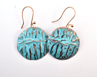 Round turquoise textured copper earrings