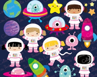 Outer Space Clipart, Girl Astronauts, Rockets, Aliens, Planets, Star