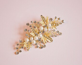 Bridal Headpiece, Gold hair clips, Gold leaf hair comb, Gold Hair vine, Gold headpiece, Leaf hair vine, Leaf hair comb