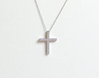 Diamond cross necklace 14k gold cross pendant diamond cross diamond cross 14k white gold necklace gold diamond cross necklace pave set diamond cross aloadofball Image collections