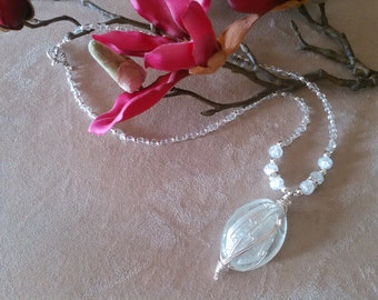 Icy silver wire wrap with white glass