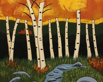 Large Landscape Painting - 24x30 Acrylic Original Wall Art on Canvas - Aspen Trees Abstract Colorado Art by Karen Watkins - Tranquil