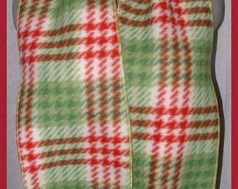 Red & Green Plaid Fleece Scarf, Muffler, Neck Scarf, Bufanda