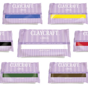 Original CLAYCRAFT by DECO Soft Clay - Air dries to a durable finish in 24 hrs or less with no mess!