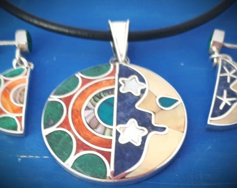 sun moon jewelry set peruvian jewelry colorful mystical unique silver set sun moon love set mothers day gift zodiac set magical jewelry peru