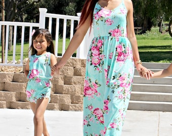 1 ADULT ONLY, floral dress, maxi dress,gender reveal, mommy to be, matching outfits, mommy and me dress, matching dresses, mother daughter